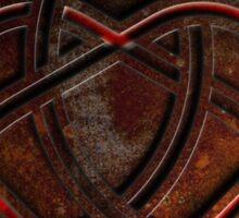 Celtic Knotwork Valentine Heart 01 - Rust Texture 01 TShirt Sticker