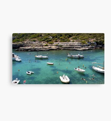 Menorcan Boats And Bathers Canvas Print