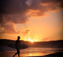Sunset Surfer, Soldiers Beach, NSW by Donna Jones