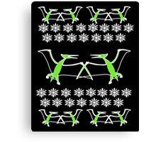 Dinosaur Pterodactyl Ugly Christmas Sweater Canvas Print