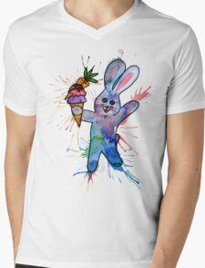 Rabbit with Yummy Ice Cream Mens V-Neck T-Shirt