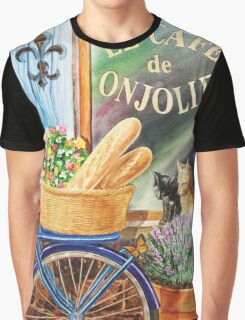 Bicycle With Basket At The Cafe Window Graphic T-Shirt
