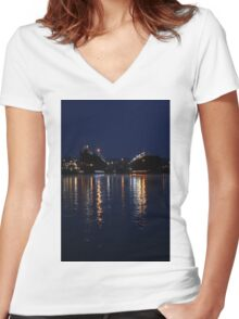 Lights on the Water at Night Women's Fitted V-Neck T-Shirt
