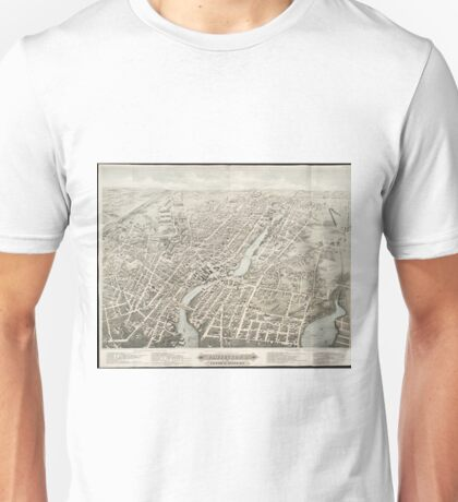 Vintage Pictorial Map of Pawtucket RI (1877) Unisex T-Shirt