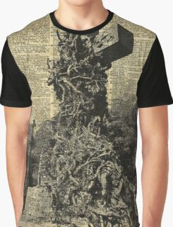 Victorian Gothic Graves,Tombstones,Cemetery Halloween Dictionary Art Graphic T-Shirt