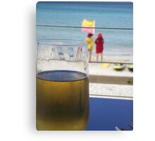 enjoyment - a cool one at the beach Canvas Print