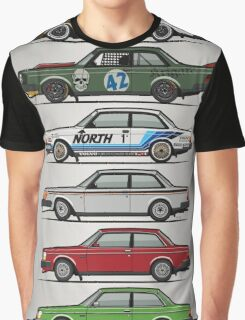 Stack Of Volvo 242 240 Series Brick Coupes Graphic T-Shirt