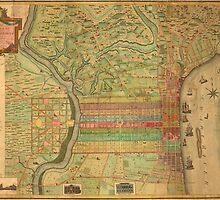 Vintage Map of Philadelphia Pennsylvania (1802) by BravuraMedia