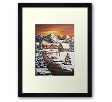 Winter Dawn in the Mountains - Acrylic Framed Print