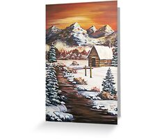 Winter Dawn in the Mountains - Acrylic Greeting Card