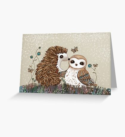 Owl and Hedgehog Greeting Card