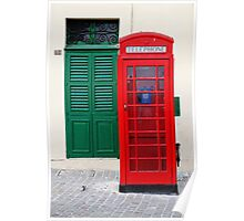 Red Telephone Box, Green Door, Malta Poster
