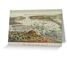 Vintage Pictorial Map of The Port of New York Greeting Card