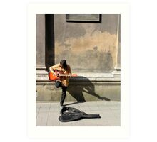 busking at the cathedral Art Print
