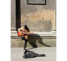 busking at the cathedral Photographic Print