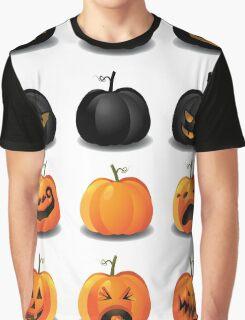 Black and Orange Jack 'o Lanterns Graphic T-Shirt
