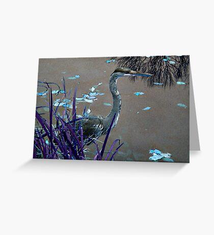Blue Heron against Purple grass Greeting Card