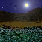 Full Moon Over A Rocky Shore. by Margaret Stevens