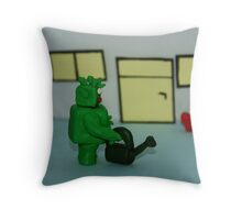 GREEN MAN WIT HEART Throw Pillow