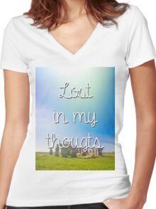 hipster background Women's Fitted V-Neck T-Shirt