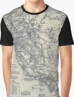Vintage California and Nevada Road Map (1920) Graphic T-Shirt