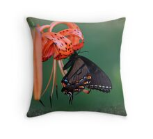 Black Swallowtail Butterfly with Tiger Lily Throw Pillow