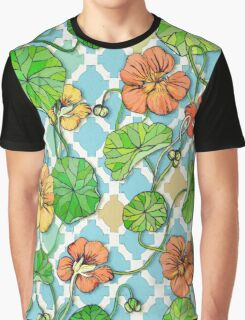 Climbing Nasturtiums on Blue and White Graphic T-Shirt