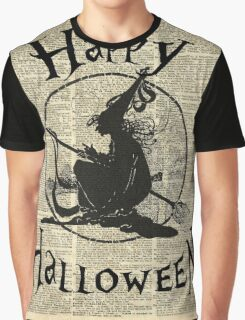 Happy Halloween Witch With Broom Dictionary Artwork Graphic T-Shirt