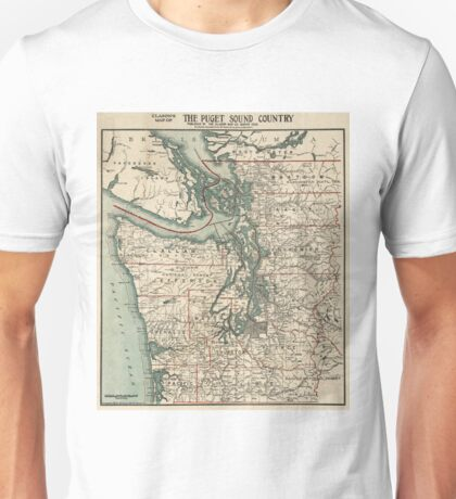 Vintage Map of The Puget Sound (1910) Unisex T-Shirt