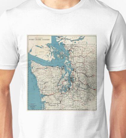 Vintage Map of The Puget Sound (1919) Unisex T-Shirt