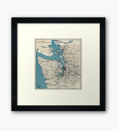 Vintage Map of The Puget Sound (1919) Framed Print