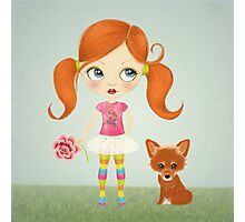 Girl and Fox Photographic Print