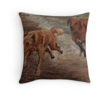 Golden Retrievers Having Fun Throw Pillow