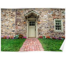 Exterior of a Beautiful Stone Cottage Poster