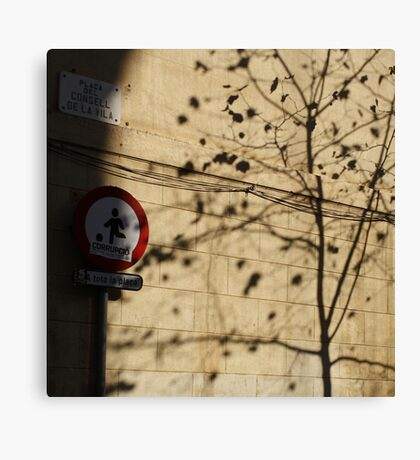 Tree shadows and sign Canvas Print