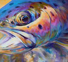 Face of A Rainbow- Rainbow Trout Portrait by Mike Savlen