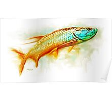 Huntint Tarpon- Tarpon Fly Fishing Painting Poster