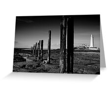 St Mary's Lighthouse B&W Greeting Card