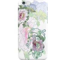 19th C Peonies, Monogram B iPhone Case/Skin
