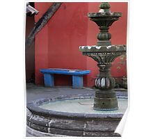 The Blue Bench, The Red Wall And A Green Fountain - El Banco Azul, El Muro Rojo Y Una Fontana Verde Poster