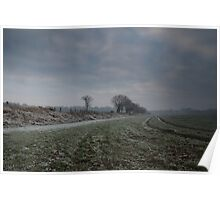 Frosted Fields and Hedgerow, January Afternoon Poster