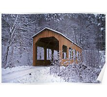 Snowy Covered Bridge Poster