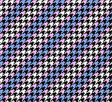 Blue, Pink, and White Houndstooth by AstralKepeire