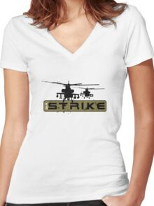 AH-64 Apache Helicopters Air Strike Women's Fitted V-Neck T-Shirt