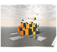 Surreal Floating Cubes Poster