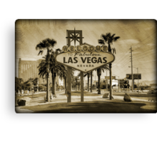 Welcome To Las Vegas Sign Series 2 of 6 Sepia Grunge Canvas Print