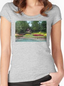 English Style Cottage With Landscaped Pond Women's Fitted Scoop T-Shirt