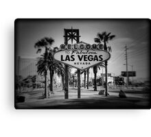 Welcome To Las Vegas Sign Series 3 of 6 Holga Black and White Canvas Print