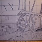 OLD MILL     ( SKETCH ON CANVAS ) BEFORE OIL PAINT by TSykes