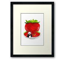 Panda & Strawberries  Framed Print